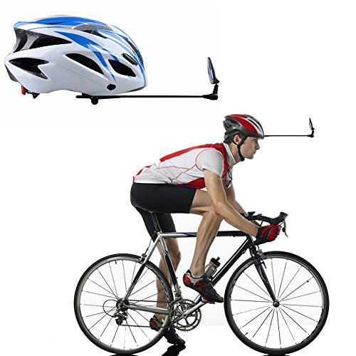 Compact Velo Safe (Bike Mirror Rear View For Helmet, Crystal Clear Flat View with Velcro Parts, Adjustable Bicycle Cycling Glasses for Cyclist, Safe Riding Lightweight Back Reflex Rearview Mirrors for Adults & Kids)