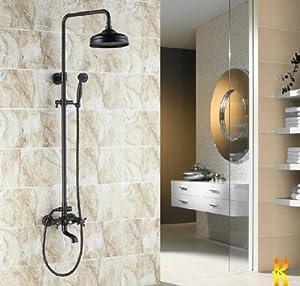 """Luxury Oil Rubbed Bronze Bath Shower Faucet Set 8"""" Rain"""
