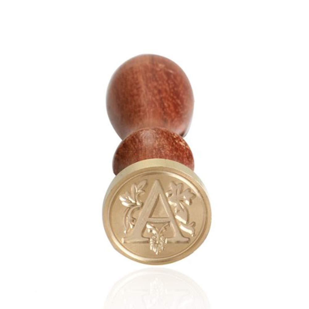 NiceButy Lacre cl/ásico inicial del sello del sello de Herramientas y decoraciones de madera del alfabeto retro LETTERA