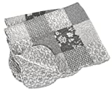 crib quilt gray - Stephan Baby Reversible Pieced Florals & Dots Crib Quilt with Scalloped Hem, Gray and White