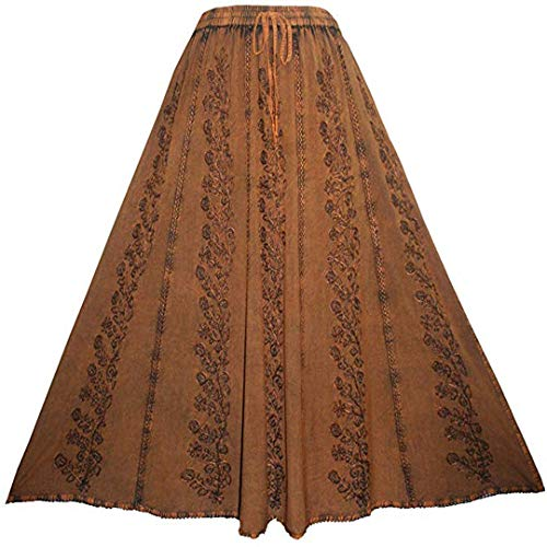 Agan Traders 712 SK Medieval Embroidered Long Skirt (S/M, Rust) -