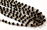 100 Feet Black Spinel Chalcedony 24k Gold Plated 3.5-4mm Faceted Rosary Wire Wrap Chain Wholesale Lot Beads Jewelry Making Beaded Chain by LadoNarayani