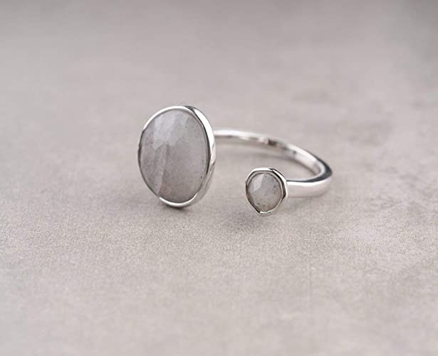 2582466149f5b Double Stone Labradorite Open Circle Gemstone Silver Plated Ring