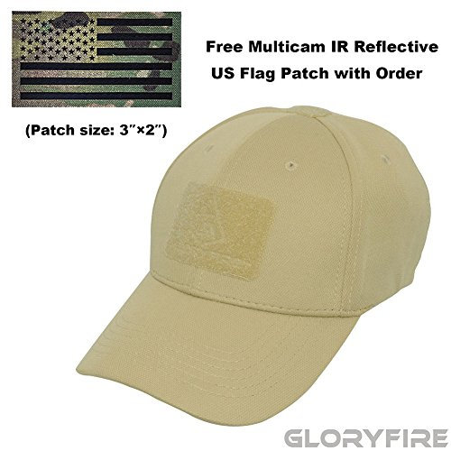 Tactical Ball Cap (GLORYFIRE Tactical Cap Flex Adjustable Hat Flexible Baseball Cap 2 Hook and Loop Panels for Patches with Free IR Multicam Infrared USA Flag Military Morale Reflective Patch (tan with IR patch))