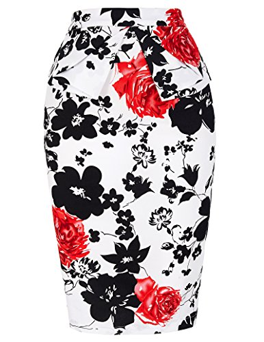 PrettyWorld Vintage Dress Grace Karin Slim Vintage Pencil Skirts For Women, Floral-7, Large (Pencil Length Waist Skirt Knee)
