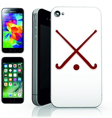 Smartphone Case bastoni di hockey su ghiaccio della sfera di Sport ueberschritten attrezzature di rosso di castagno marrone per Apple Iphone 4/4S, 5/5S, 5C, 6/6S, 7& Samsung Galaxy S4, S5, S6, S6