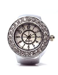 Lover's Dial Quartz Analog Watch Creative Steel Cool Elastic Quartz Finger Ring Watch (Silver 1)