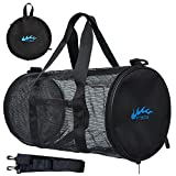 Dive Bag - Mesh Duffle Bag for Snorkeling, Swimming, Scuba Diving, Beach and Sports Equipment Large Foldable Diving Gear Bag with Exterior Waterproof Pocket and Adjustable Shoulder Strap,Upgrade