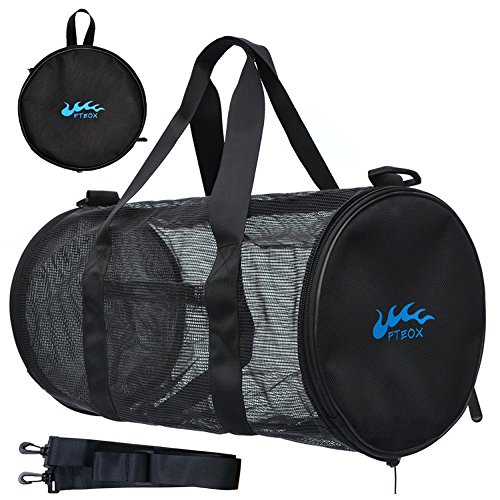 FTEOX Mesh Sports Bag - Large Mesh Duffle Gear Bag Collapsible Adjustable Shoulder Strap Compatible for Travelling, Gym, Swimming, Beach, Soccer,Other Outdoor Sports & Water Sports Gears.