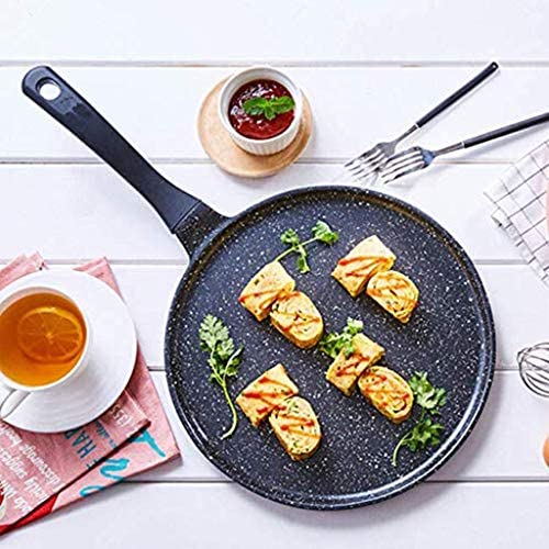 LULUDP Pots Pans Pans Padella Padella Antiaderente Facile da Pulire Bistecca Pancake Pot Pizza Pentola Gas Nero Universale 28Cm Padella