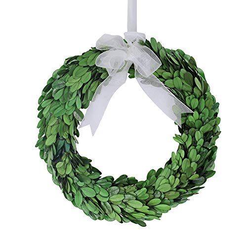 besttoyhome 10'' Wide Round Preserved Boxwood Wreath in Green Bow (10 inch) by besttoyhome