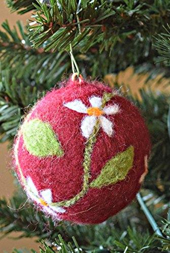 Handmade Red, Green and White Needle Felted Flower Motif Christmas Ornament