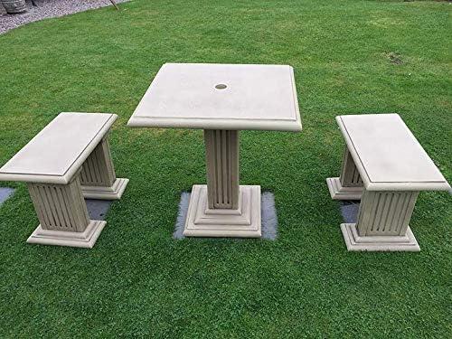Juego de con tres de piedra para hormigón mesa asiento curvado y estilo antiguo ardillas tienen un aspecto fabuloso.: Amazon.es: Jardín