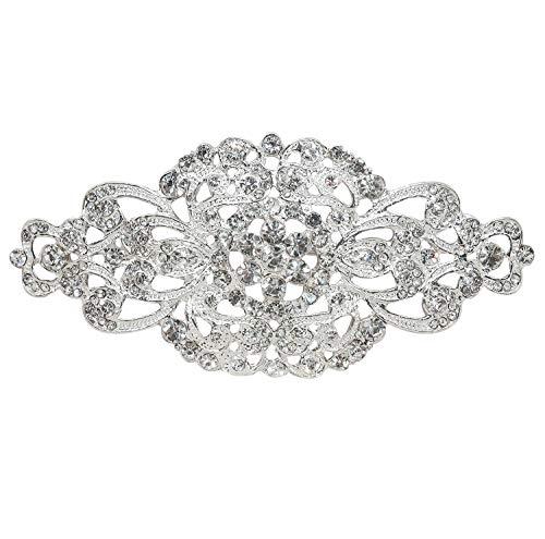 L'vow Silver Wedding Crystal Bridal Brooch Pin Ribbon Sash Belt Brooches (Style - 002)
