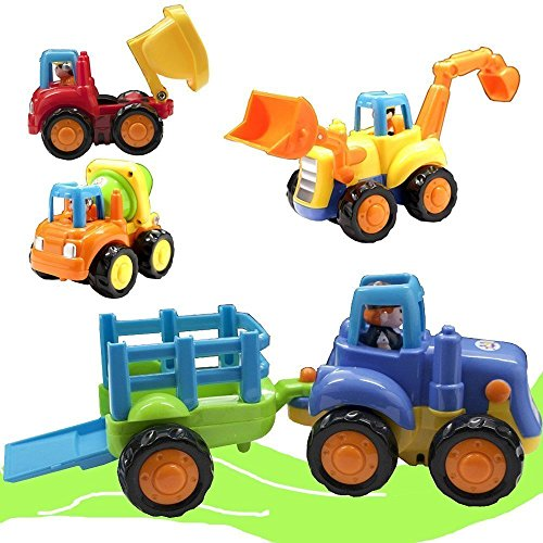 Friction Powered Cars - Push and Go Toy Trucks Construction Vehicles Toys Set for 1-3 Year Old Baby Toddlers- Dump Truck - Cement Mixer - Bulldozer - Tractor - Early Educational Cartoon ( Set of 4)