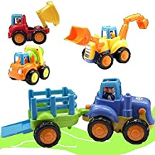 [Patrocinado] Friction Powered Cars, Push and Go Toy Trucks Construction Vehicles Toys Set for 1-3 Year Old Baby Toddlers- Dump Truck, Cement Mixer, Bulldozer, Tractor, Early Educational Cartoon ( Set of 4)