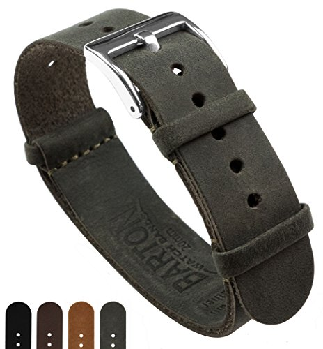 BARTON Leather NATO Style Watch Straps - Choose Color, Length & Width - 18mm, 20mm, 22mm Bands