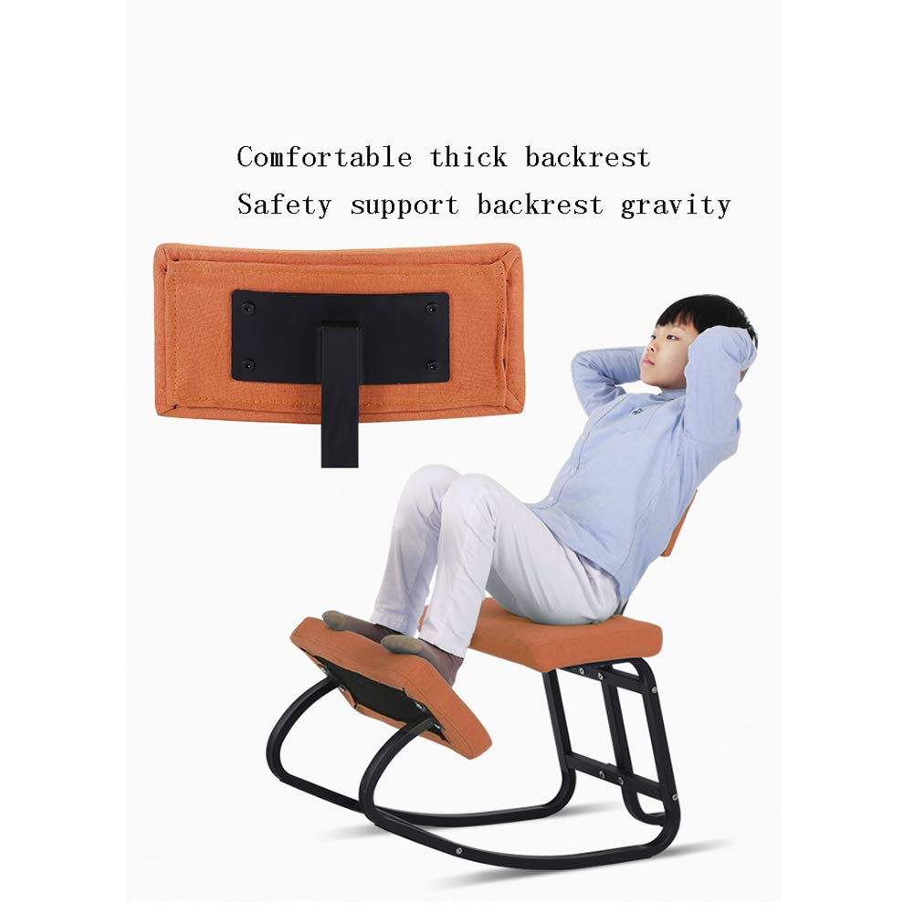 X&JJ Ergonomisk knästol korrigering hållning pall med stort ryggstöd för kontor och hem för att förhindra närsynthet och hundrygg Rosa Puleatherblack