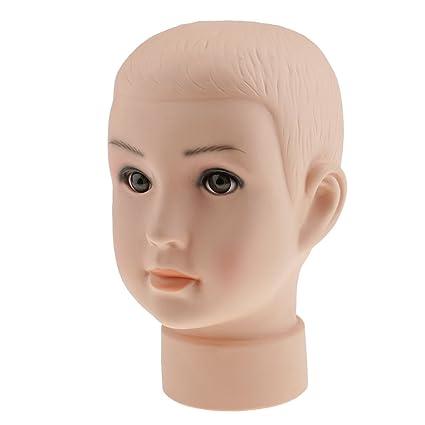 Sharplace Enfant Tête de Mannequin Porte Perruques Cheveux Chapeau Moule  Présentoir de Vitrine en PVC 37af56733cfb
