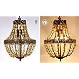 Antique Finish wood bead Cage Chandelier American Country Rural Style For Bedroom Living Room Dining Room (3 Lamp Chandelier)