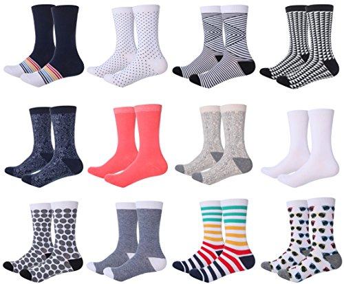 Mio Marino Womens Dress Socks - Colorful Patterned Cotton Socks for Women - Women's Cordial Dress Socks - 12 Pack - 9-11