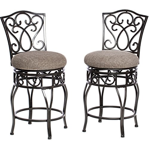 ModHaus Living Classic Scroll Black Metal Kitchen Stools Counter Height with Back Swivel and Black and Tan Fabric Seat (Set of 2) - Includes Pen