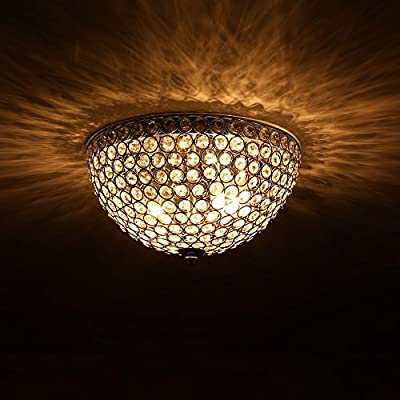 """CO-Z Flush Mount Crystal Ceiling Light Fixture with 2-Light, Modern Chrome Ceiling Lighting for Hallway Dining Living Room Kitchen Boudoir with Crystal Shade, 12"""" Wide Sparkling Fixture for Home Décor"""