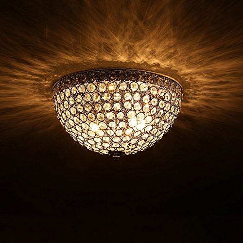CO-Z Crystal 2-light Flush Mount Chrome Ceiling Light Fixture with Crystal Beads Shade - Crystal Dome Flush