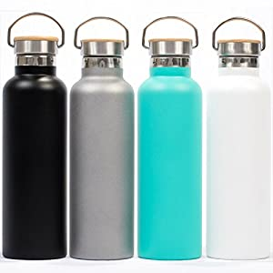 Pure Flask 500ml (17 ounce) Insulated Water Bottle for Sport Hydration with BPA Free Stainless Steel Water Bottle, Aqua Blue Durable Paint with Wide Mouth Swivel Handle and Bamboo