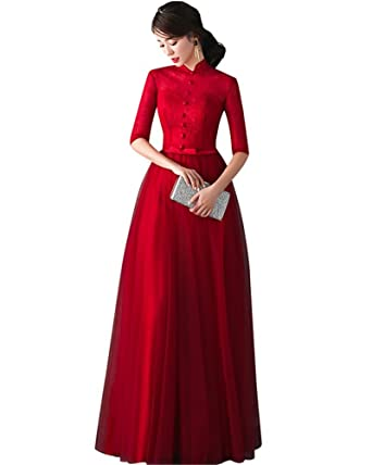 Drasawee Womens Middle Sleeve Stand Collar Party Wedding Dress Slim Maxi Formal Evening Prom Dresses Red