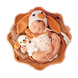 Newborn Monthly Baby Photo Props Puppy Hat Bodysuit Doll Sets Photography Outfits Costume