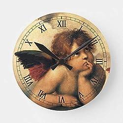 PotteLove Sistine Madonna Angels Detail by Raphael Round Wooden Decorative Round Wall Clock