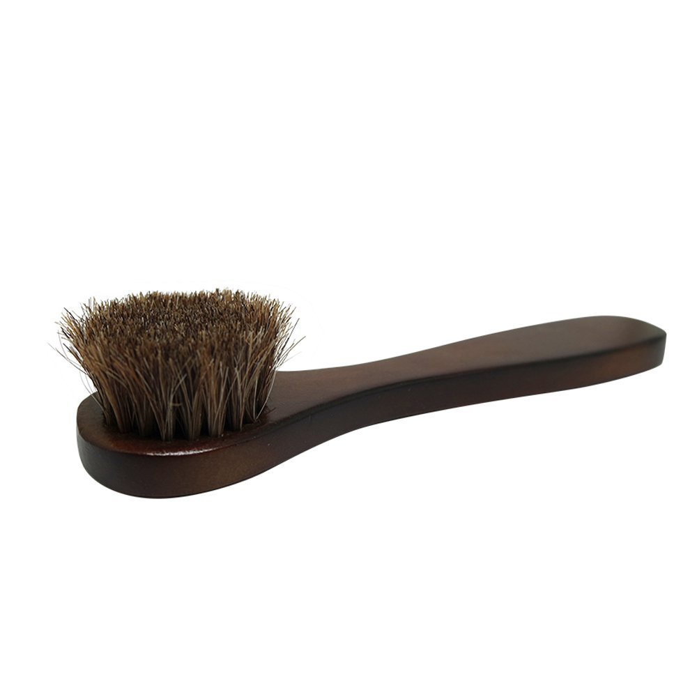2PCS Polish Shoe Brush  ,  6.7'' Horse Shine Horsehair Brushes With Leather Dauber , Waterproofing Brown Cleaning Applicator Conditioner For Coats , Handbags ,  Purses ,  Briefcases ,  Saddles ,  Boot by ieasycan (Image #3)