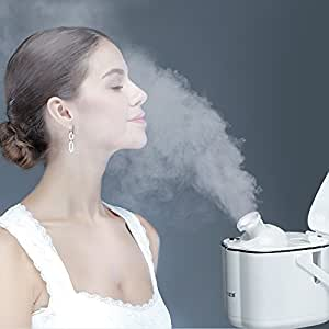 K-SKIN Facial Steamer Micro Hot Mist with Adjustable Nozzle, Dust-proof Lid and HD Mirror (Snow White)