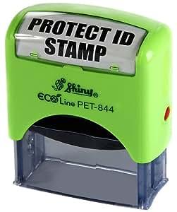 "Shiny - Sello automático, diseño con texto en inglés ""Protect ID"""