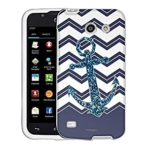 AT&T Tribute Case, Snap On Cover by Trek Chevrons Faux Glitter Anchor Navy Case