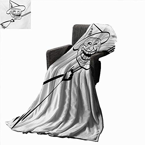 Anyangeight Humor Weave Pattern Extra Long Blanket Halloween Spirit Themed Witch Guy Meme LOL Joy Spooky Avatar Artful Image Print,Super Soft and Comfortable,Suitable for Sofas,Chairs,beds