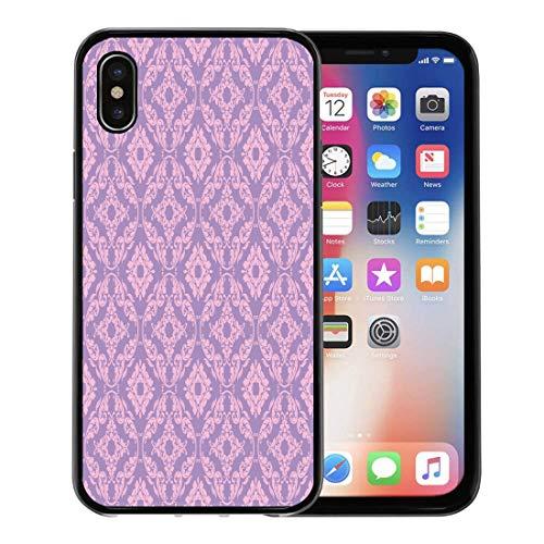 Emvency Phone Case for Apple iPhone Xs Case/iPhone X Case,Pattern Blue Medallion Lavender Pink Damask Purple Antique Baroque Soft Rubber Border Decorative, Black