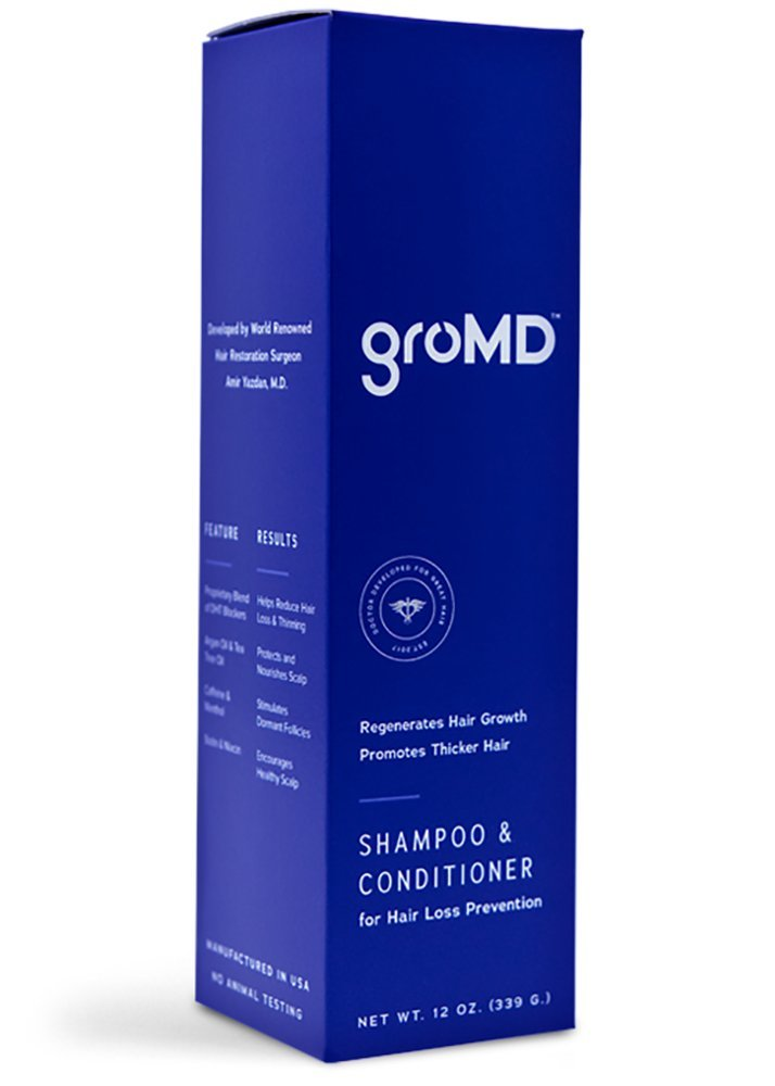 GroMD Hair Growth and Hair Loss Prevention Shampoo & Conditioner, Doctor-Developed Proprietary Blend of DHT Blockers, Caffeine, Argan Oil, Biotin & Niacin, Daily Use for All Hair Types, Men and Women by GroMD