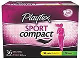 Playtex Sport Compact Athletic Tampons, Regular & Super Absorbency, Multi-Pack of 36 Tampons