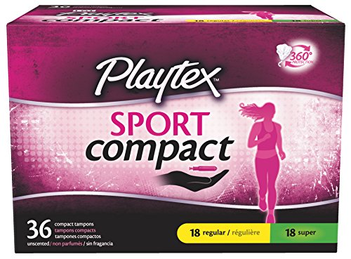 Playtex Sport Multipack Regular and Super Absorbency Compact Tampons, 36 - Compact Tampon