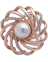 SHANLIHUA 3 Rings Rhinestone Metal Smooth Silk Scarf Ring Buckle Scarves Ring Clip for Women