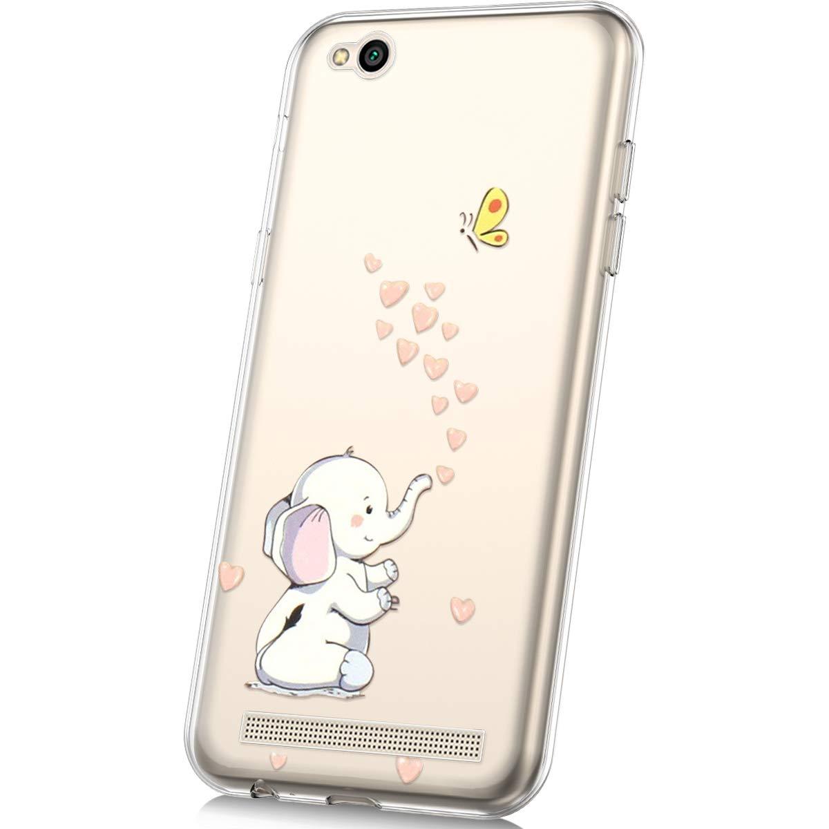 JAWSEU Funda Compatible con Xiaomi Redmi 5A Transparente Suave TPU Silicona Gel Funda con Dibujos Animados Dise/ño Ultra-Delgado Anti-ara/ñazos Resistente Protectora Carcasa,Flamenco
