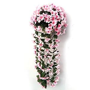 FYYDNZA Violet Flower Pendant Wall Basket Artificial Simulation Decoration Flower Orchid Silk Flower Vine Wedding P2 Valentine'S Day,Rosado 71