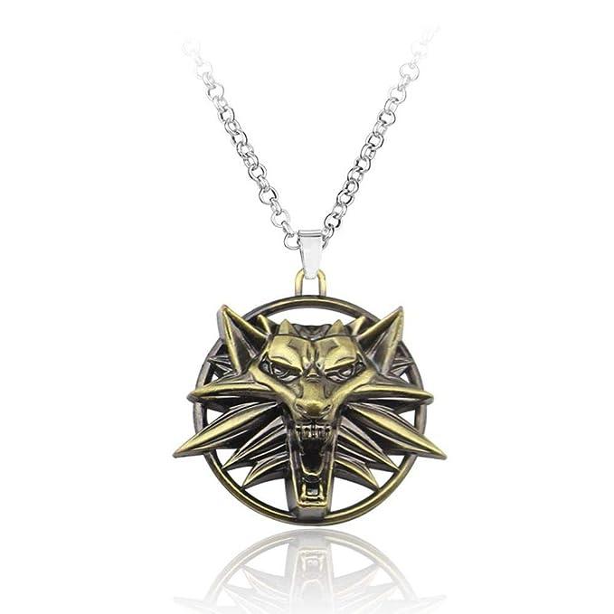 Amazon.com: AEmber – Witcher 3 collar llavero cabeza de lobo ...