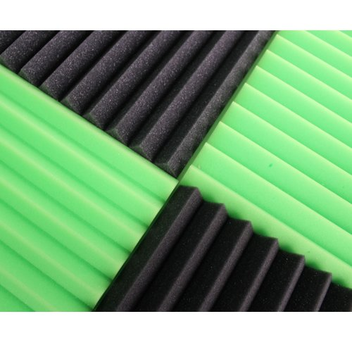 (12 Pk) 1''x12''x12'' GREEN/CHARCOAL Acoustic Panels Soundproofing Foam Acoustic Tiles Studio Foam Sound Wedges (12T)