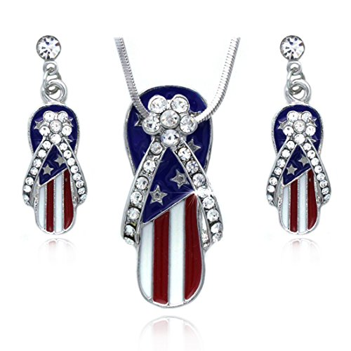 cocojewelry 4th of July American Flag Flip Flop Sandal Earrings Necklace Set (Style B)