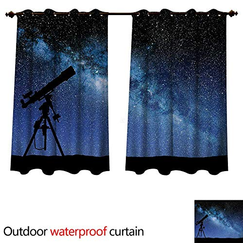 WilliamsDecor Galaxy Outdoor Curtains for Patio Sheer Telescope Valley Under Starry Night Sky Milky Way Atmosphere Galaxy Astronomy W72 x L72(183cm x 183cm)