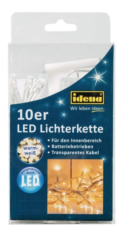 Idena 8582065 LED Lichterkette 10er für Innen, batteriebetrieben, Plastik, warmweiß, 100 x 5 x 2 cm warmweiß Iden Berlin
