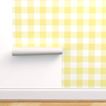 Spoonflower Peel And Stick Removable Wallpaper Plaid Buffalo Check Large Gingham Sugar Fresh Yellow Modern Nursery Print Self Adhesive Wallpaper 12in X 24in Test Swatch Amazon Com